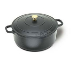 World Cuisine A1737028 6.75-qt Dutch Oven w/ Lid & Bronze Knob, Enameled Cast Iron, Black