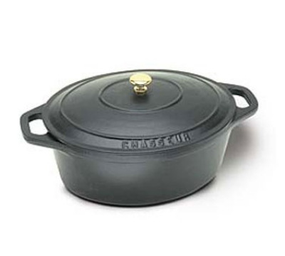 World Cuisine A1737031 5.5-qt Dutch Oven, Lid w/ Bronze Knob, Enameled Cast Iron, Black
