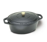 World Cuisine A1737035 Enameled Cast Iron Dutch Oven w/ Lid & Bronze Knob, 8-qt, Black