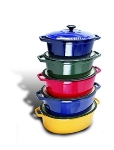 World Cuisine A1737127 Enameled Cast Iron Dutch Oven w/ Lid, 3.5-qt, Blue
