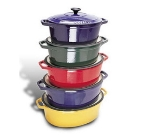 World Cuisine A1737129 Enameled Cast Iron Dutch Oven w/ Lid, 4.25-qt, Blue