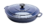 World Cuisine A1737130 3-qt Dutch Oven w/ Lid, Enameled Cast Iron, Blue