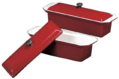 World Cuisine A1738225 Enameled Cast Iron Terrine Mold w/ Lid, Rectangular, 1.25-qt, Red