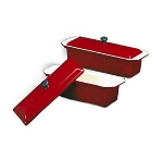 World Cuisine A1738329 Enameled Cast Iron Terrine Mold w/ Lid, Rectangular, 1.5-qt, Red