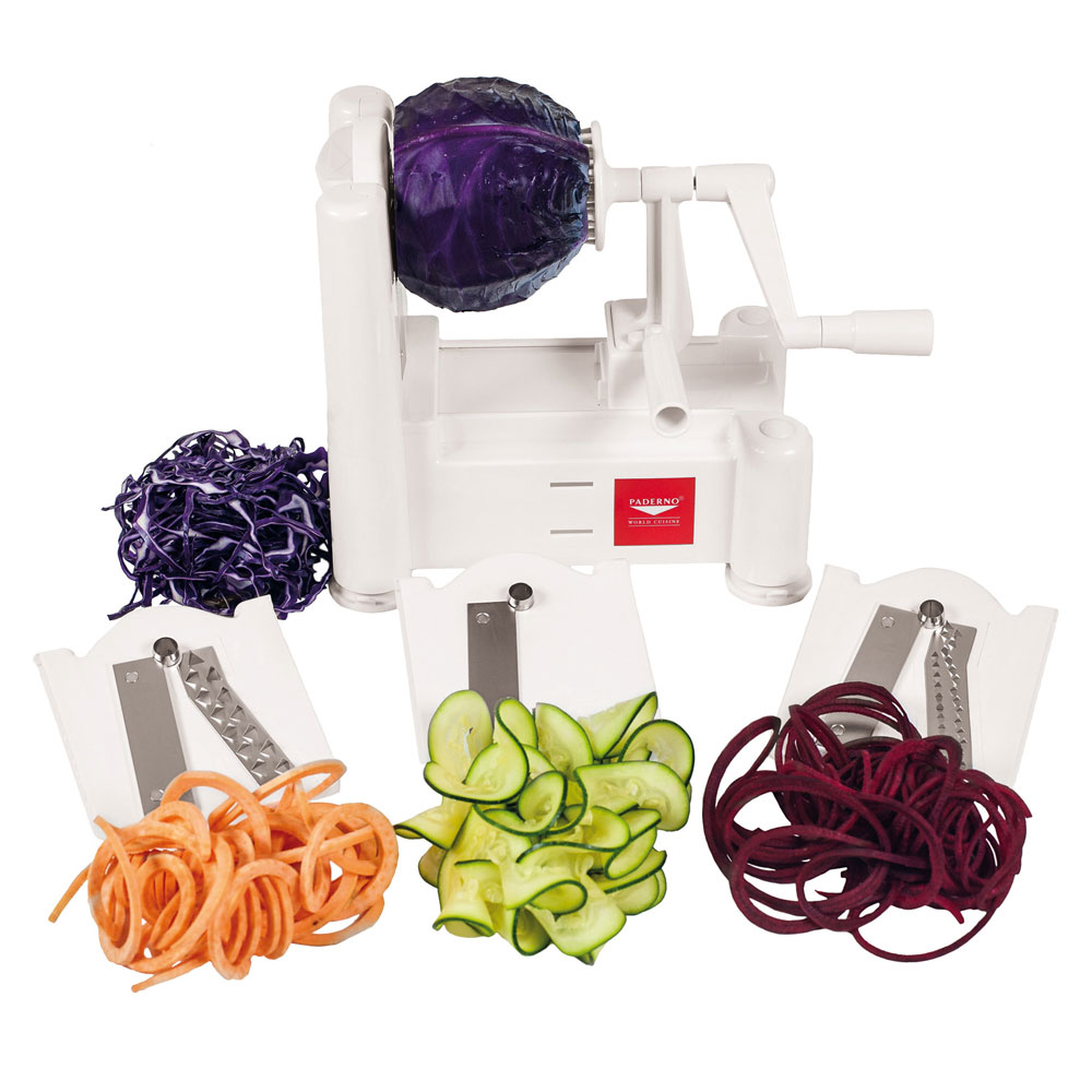 World Cuisine A4982799 Tabletop Spiral Vegetable Slicer w/ (3) Stainless Steel Blades, Plastic