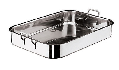 World Cuisine 11943-45 Roasting Pan w/ Dual Fixed Handles, 11-7/8 x 17.75-in, Stainless