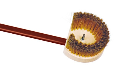 World Cuisine 41766-14 Oven Brush w/ Brass Bristle & Red Anodized Handle, 5.5 x 59-in