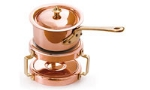 World Cuisine 45430-11 Butter Warmer w/ Stand & Lid, 0.3-qt, Stainless Lined Copper