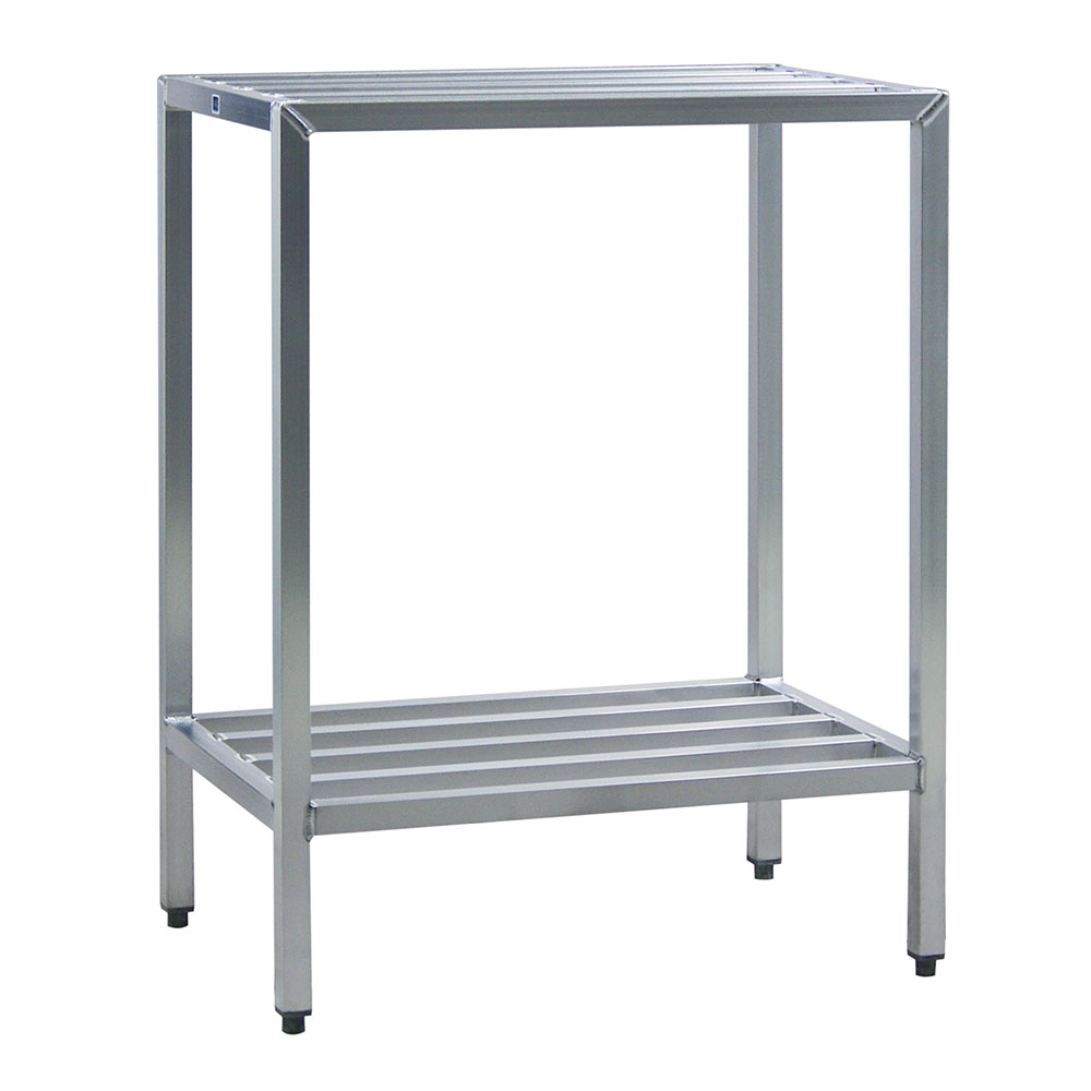 "New Age 1024 Welded Bar Style 2-Shelving Unit w/ Adjustable Feet, 48x20x72"", Aluminum"
