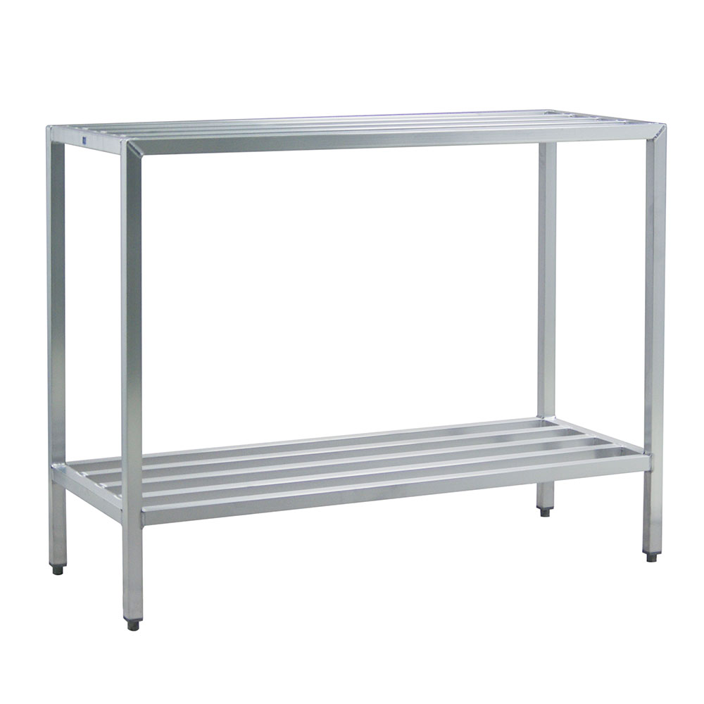 "New Age 1027 Welded Bar Style 2-Shelving Unit w/ Adjustable Feet, 48x24x60"", Aluminum"