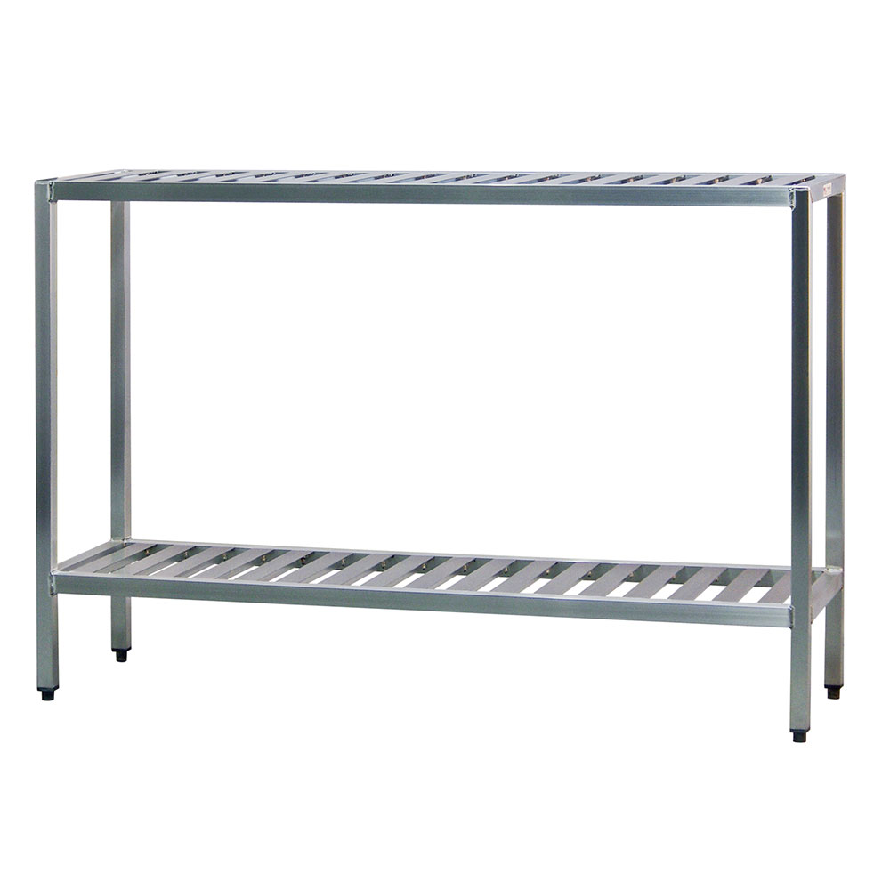 "New Age 1031TB Welded T-Bar Style 2-Shelving Unit w/ Adjustable Feet, 48x24x42"", Aluminum"