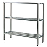 New Age 1043 Welded Bar Style 3-Shelving Unit w/ Adjustable Feet, 48x20x60-in, Aluminum