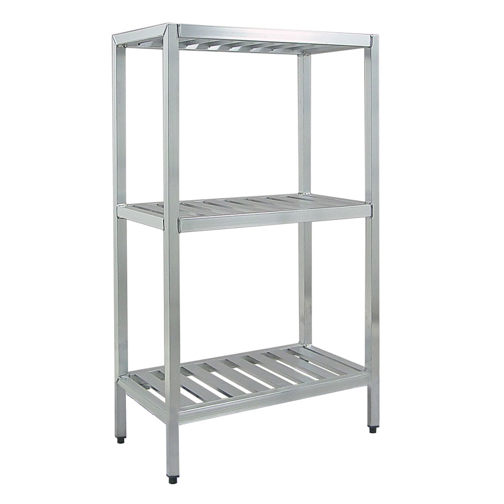 "New Age 1046TB Welded T-Bar Style 3-Shelving Unit w/ Adjustable Feet, 48x24x48"", Aluminum"