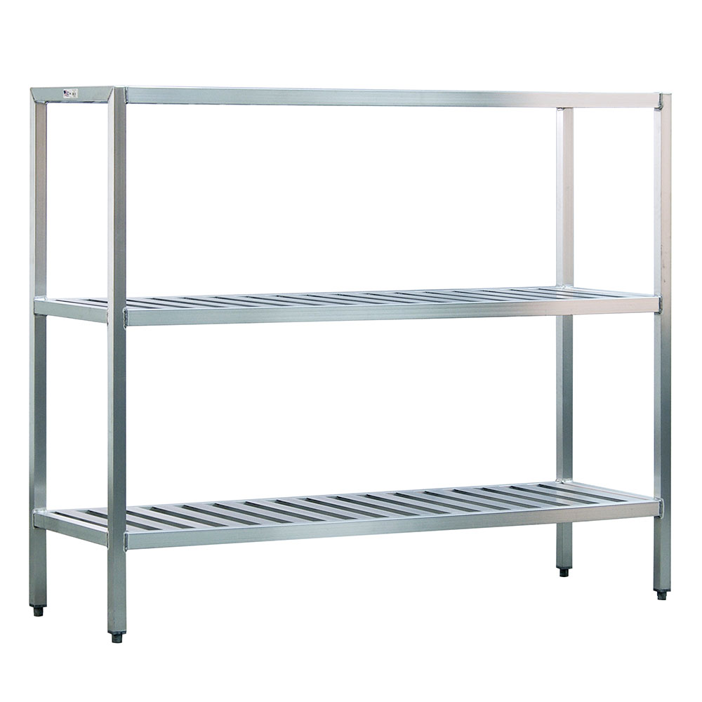 "New Age 1048TB Welded T-Bar Style 3-Shelving Unit w/ Adjustable Feet, 48x24x72"", Aluminum"