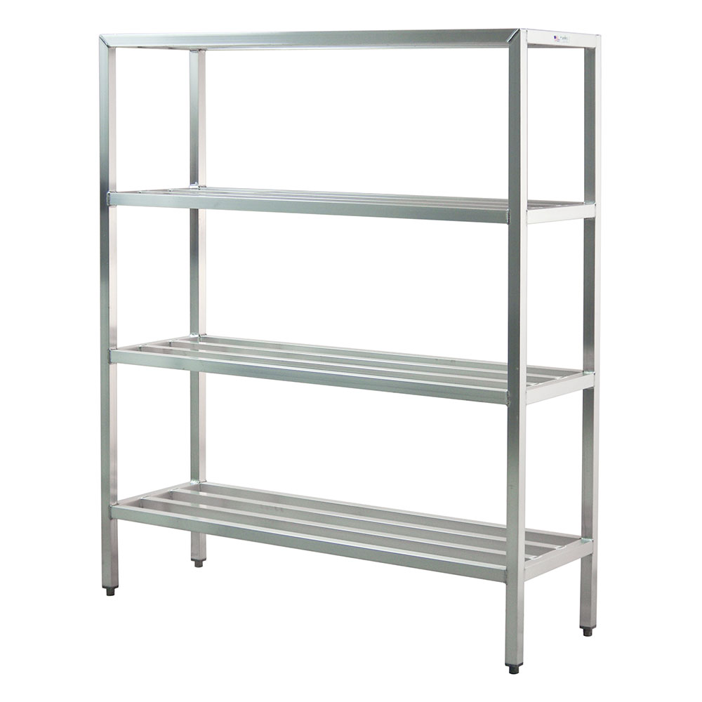 "New Age 1064 Welded Bar Style 4-Shelving Unit w/ Adjustable Feet, 48x20x72"", Aluminum"