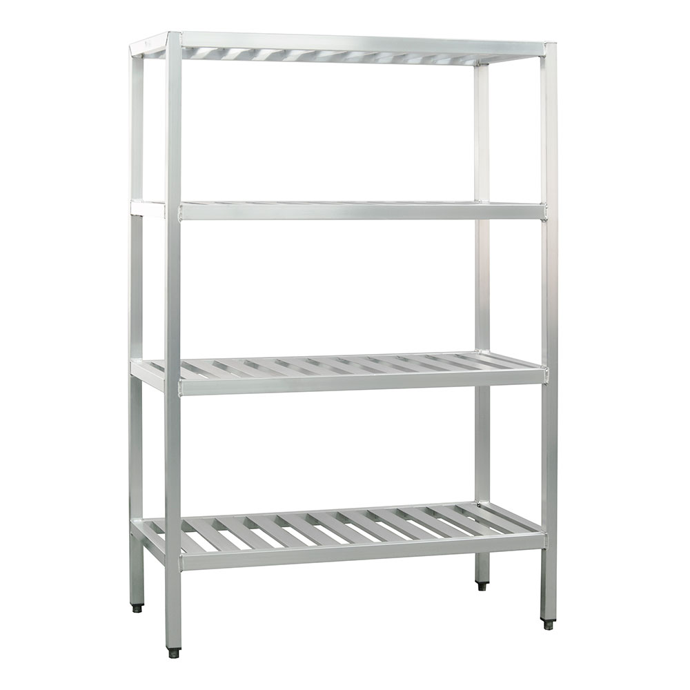"New Age 1066TB Welded T-Bar Style 4-Shelving Unit w/ Adjustable Feet, 48x24x48"", Aluminum"