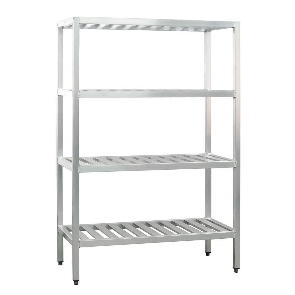 "New Age 1068TB Welded T-Bar Style 4-Shelving Unit w/ Adjustable Feet, 48x24x72"", Aluminum"