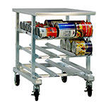 New Age 1235 Mobile Can Storage Rack w/ Work Top & (54)#10 Or (72)#5 Can Capacity, Aluminum