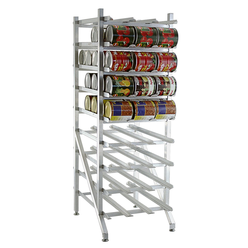 New Age 1250 Stationary Can Storage Rack w/ Adjustable Feet & Sloped Glides For Can Retrieval