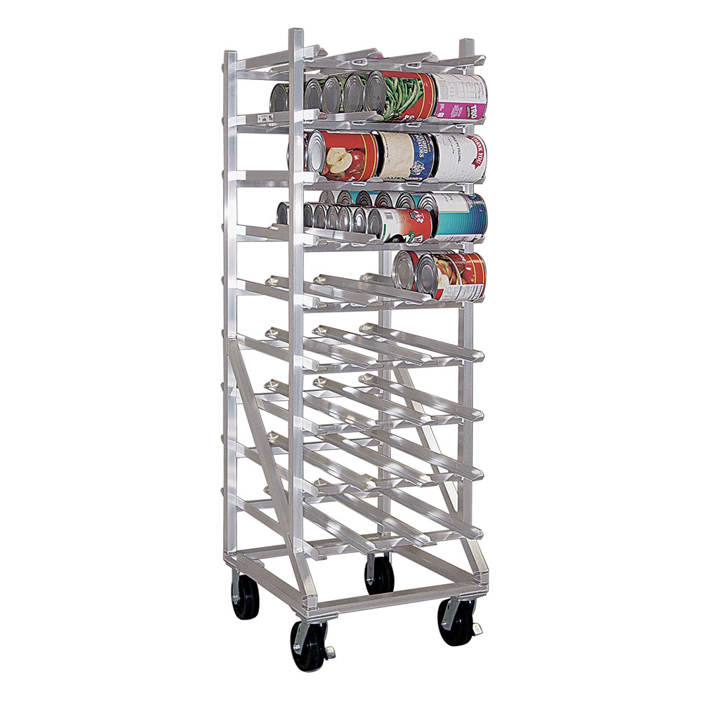 New Age 1250CK Mobile Can Storage w/ Casters & Sloped Glides For Can Retrieval, Aluminum