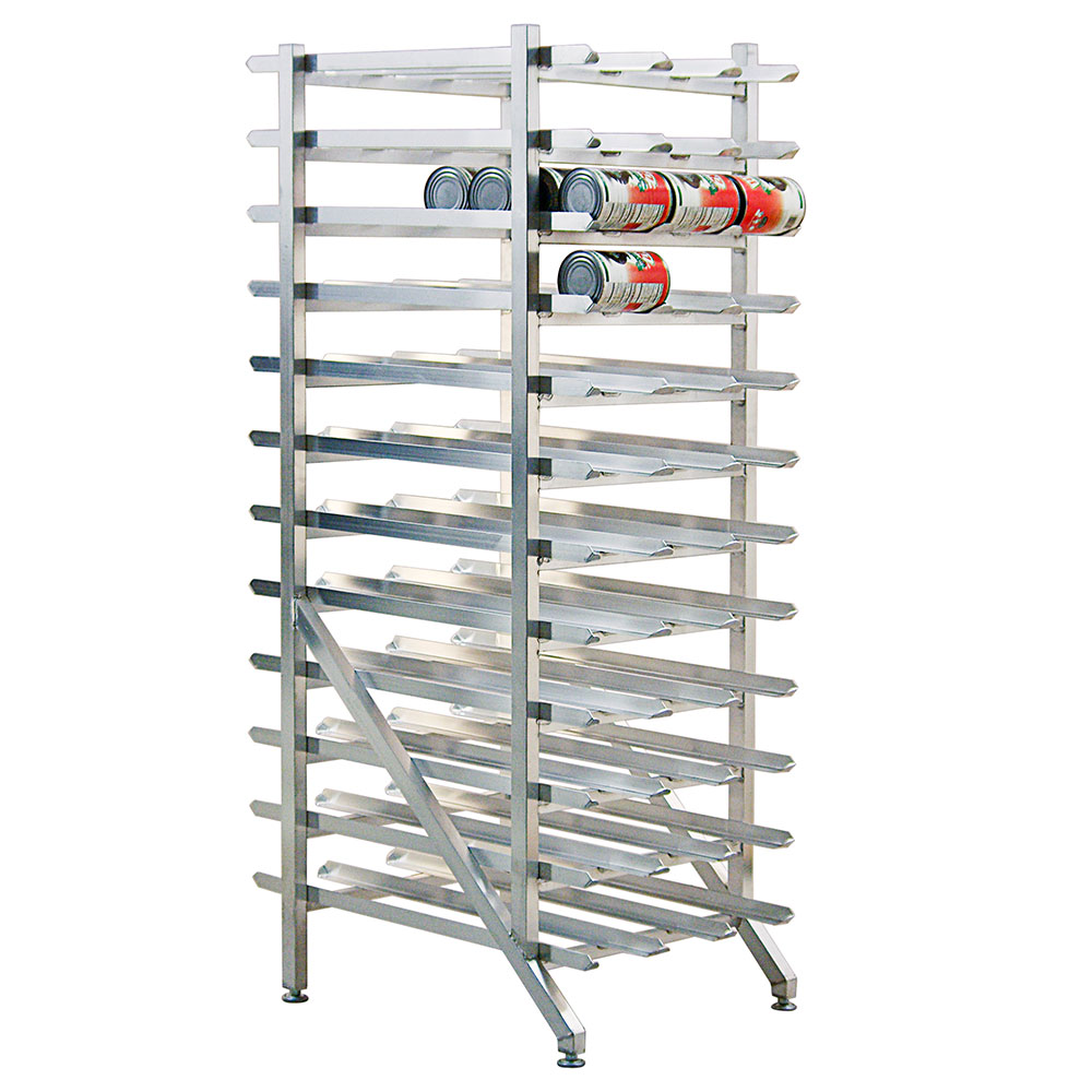 """New Age 1254 73""""H Stationary Can Rack w/ (288) #5 Capacity, Adjustable Feet"""