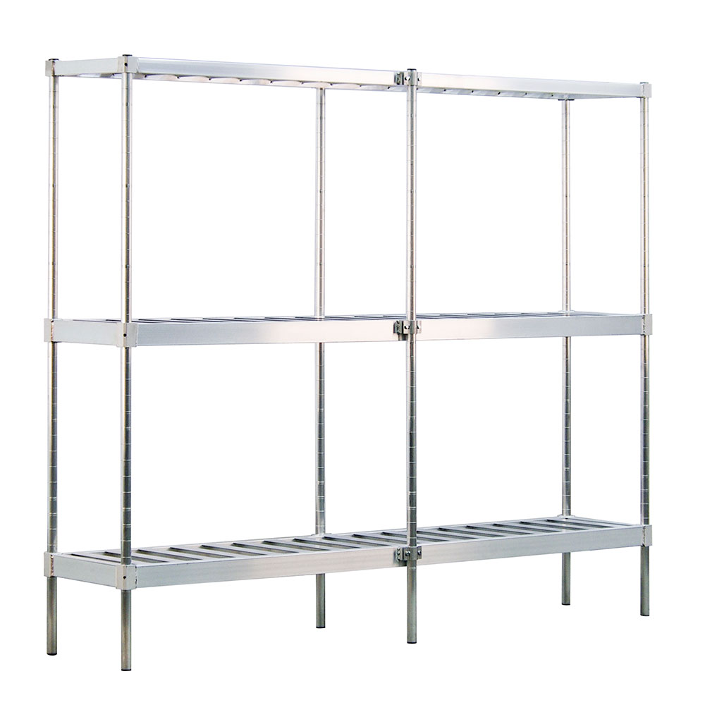"New Age 1289 Beer Keg Rack w/ 10-Keg Capacity & 3-T Bar Shelves, 76x18x93"", Welded Aluminum"