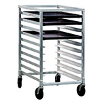 New Age 1312 Mobile Pan Rack Half Size Height Open Sides Slides For 18x26-in Pans Aluminum