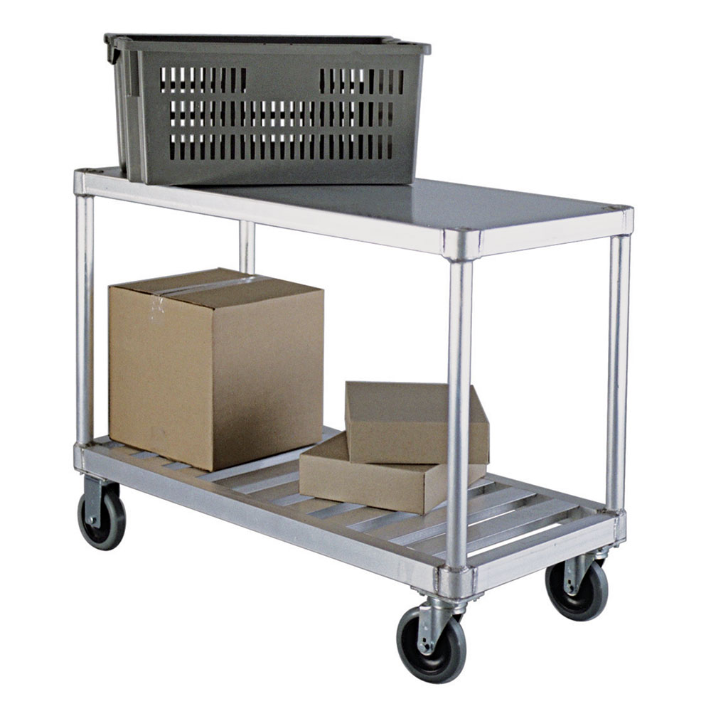 New Age 1415 2-Level Aluminum Utility Cart w/ 800-lb Capacity, Flat Ledges