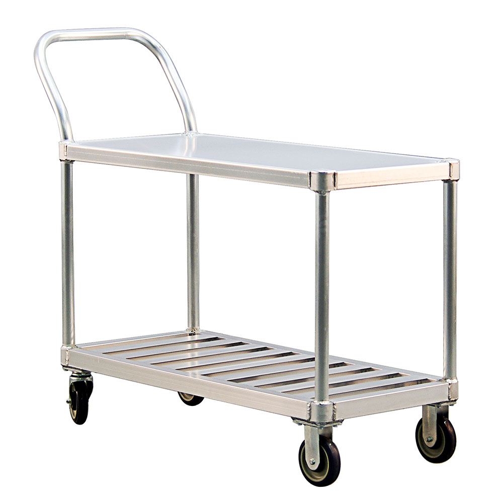 New Age 1416 2-Level Aluminum Utility Cart w/ 800-lb Capacity, Flat Ledges