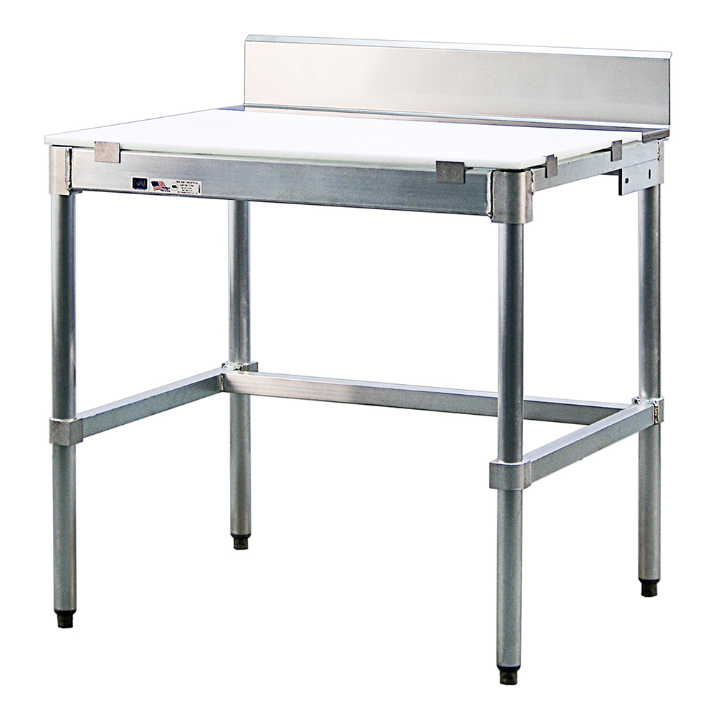 "New Age 24PBS84KD 84"" Poly Top Work Table w/  6"" Backsplash & 5/8"" Top, Aluminum Base, 24""D"