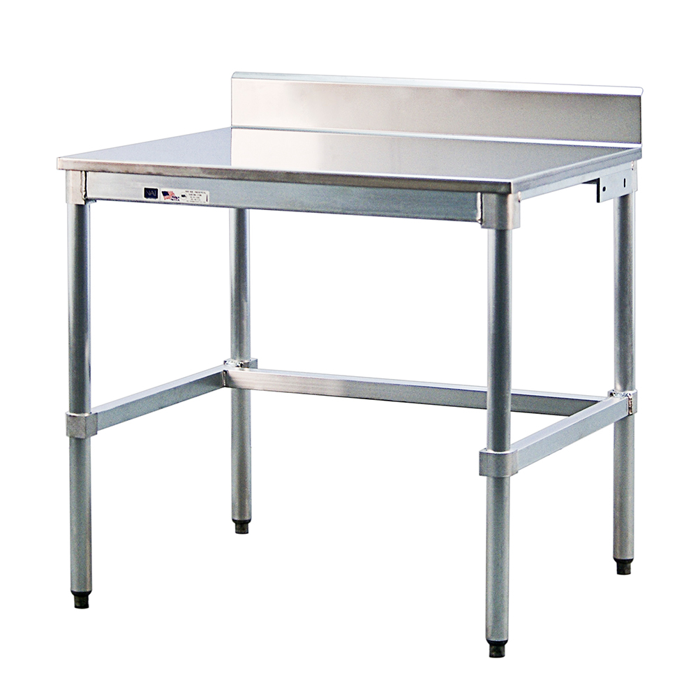 "New Age 24SSB36KD 36"" 16-ga Work Table w/ Open Base & 304-Series Stainless Top, 6"" Backsplash"
