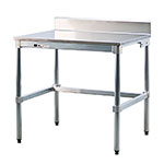 "New Age 24SSB72KD 72"" 16-ga Work Table w/ Open Base & 304-Series Stainless Top, 6"" Backsplash"