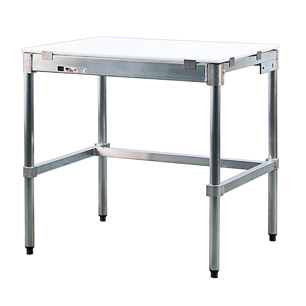 "New Age 30P96KD 96"" Poly Top Work Table w/  5/8"" Top, Aluminum Base, 30""D"