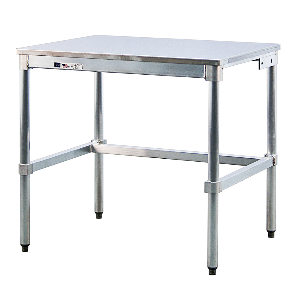 "New Age 30SS48KD 48"" 16-ga Work Table w/ Open Base & 304-Series Stainless Flat Top"