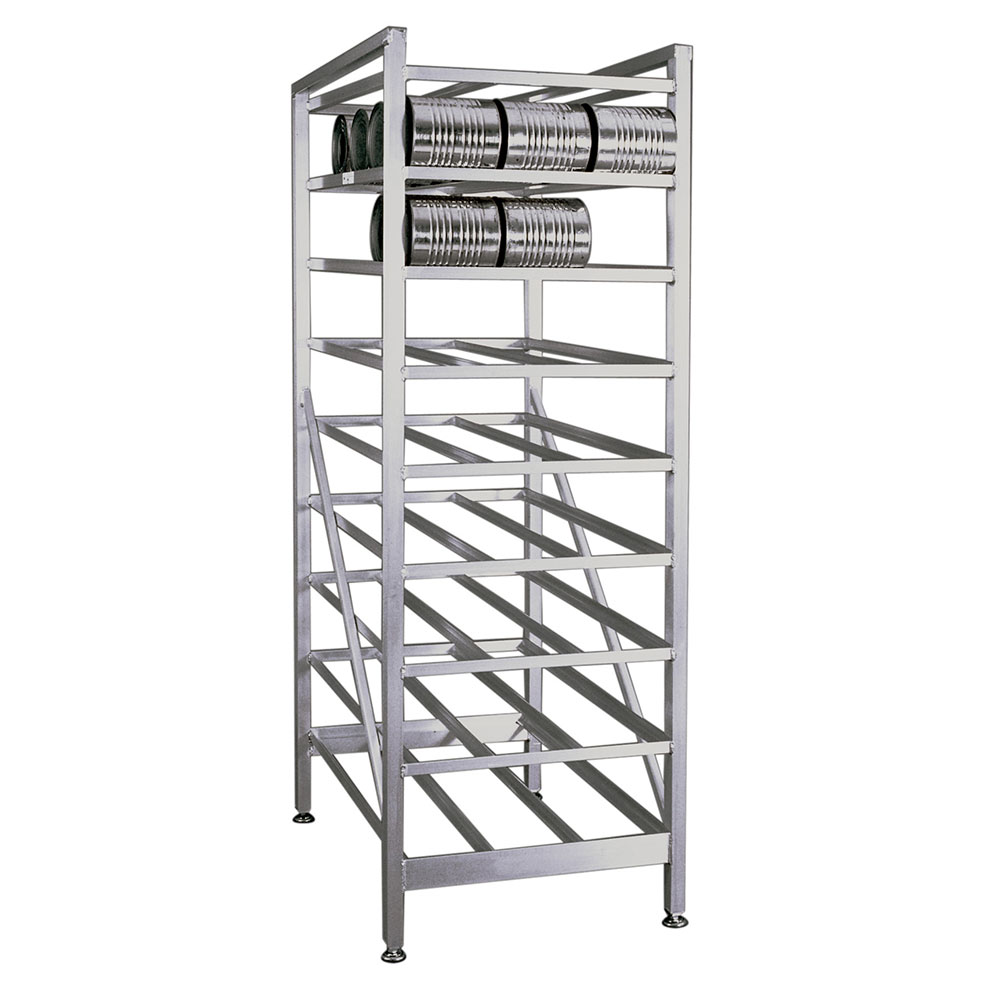 New Age 6259 Stationary Can Rack, Adjustable Feet, Rear Loading Gravity Fed Shelves, Aluminum