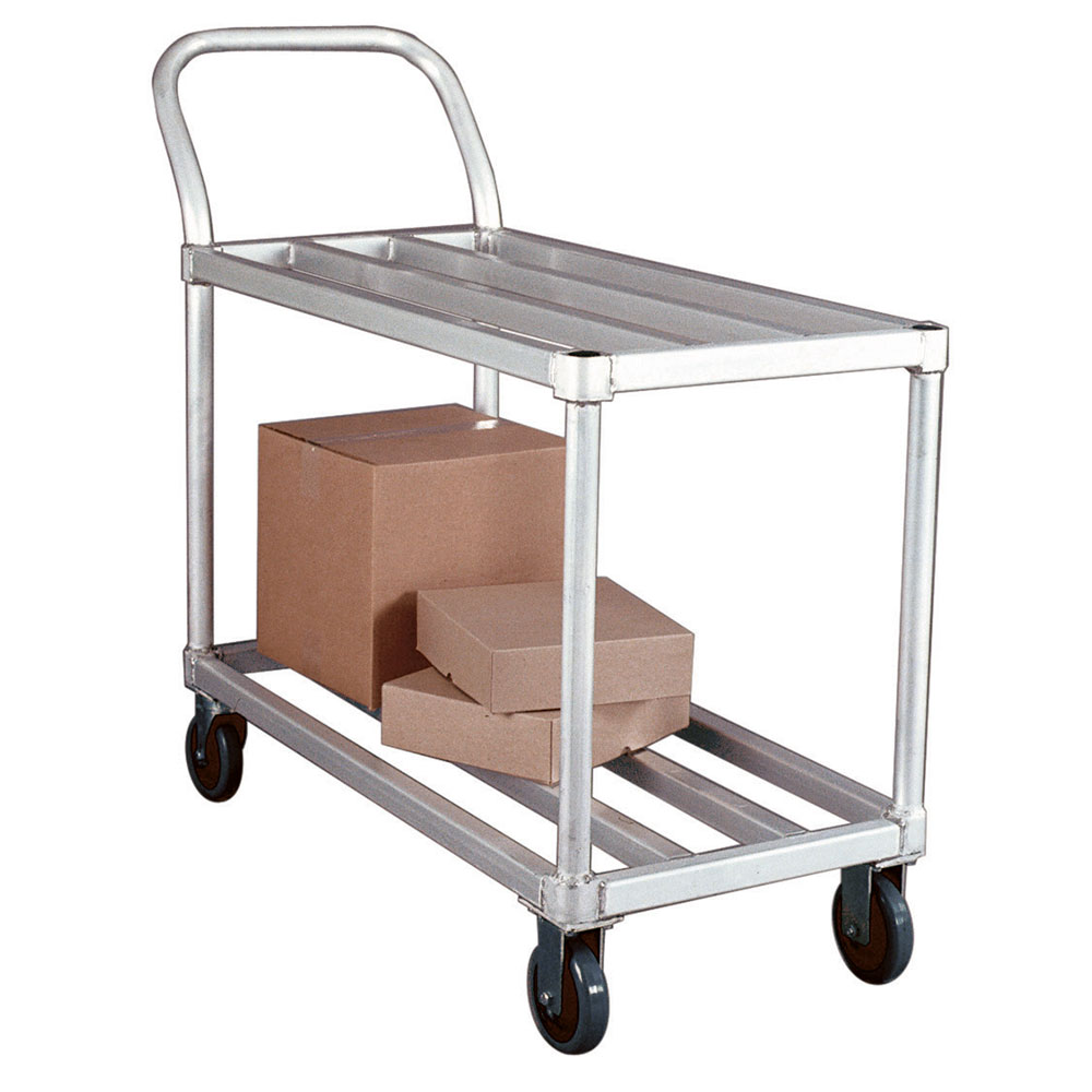 New Age 95661 2-Level Aluminum Utility Cart w/ 700-lb Capacity, Flat Ledges