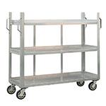 New Age 95667 3-Level Aluminum Utility Cart w/ 1800-lb Capacity, Raised Ledges