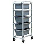 "New Age 97253 Mobile Lug Rack w/ Open Frame & (5)18.75x26x61"" Lug Capacity, Welded Aluminum"