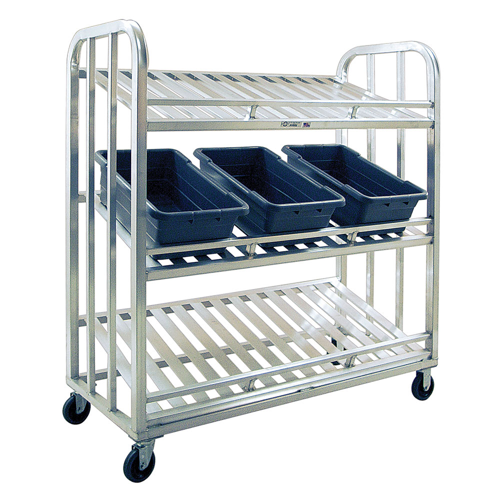 """New Age 97476 3-Tier Picking Cart w/ 24.5x56"""" Shelves & 5"""" Casters, All Welded Aluminum"""