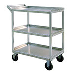 New Age 97769 3-Level Aluminum Utility Cart w/ 550-lb Capacity, Raised Ledges