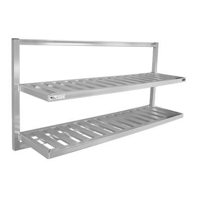 "New Age 98142 2-Tier Universal Bus Tub Wall Shelf w/ T Bar Shelves & 12"" Shelf Clearance"