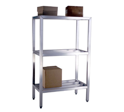 "New Age 1050 Welded Bar Style 3-Shelving Unit w/ Adjustable Feet, 48x20x42"", Aluminum"