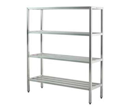 "New Age 1063 Welded Bar Style 4-Shelving Unit w/ Adjustable Feet, 48x20x60"", Aluminum"