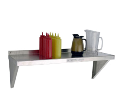 "New Age 94249 Solid Wall Mounted Shelf w/ Marine Edge Design & 15x60"", Aluminum"