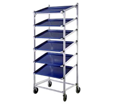 "New Age 1139 Mobile Slant Display Rack w/ (9)18x26"" Pan Capacity, 66.25x28.5x22"" Aluminum"