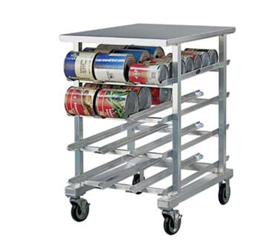 New Age 1225 41-in Low Profile Mobile Can Storage Rack w/ Work Top & Sloped Glides, Aluminum