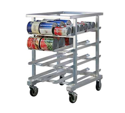New Age 1226NT 41-in Low Profile Mobile Can Storage Rack Sloped Glides & 5-in Casters, Aluminum
