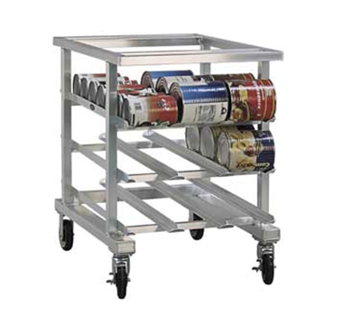 New Age 1236NT 35-in Low Profile Mobile Can Storage Rack w/ Sloped Glides 5-in Casters Aluminum