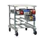 "New Age 1237 35"" Low Profile Mobile Can Storage Rack w/ Work Top & Sloped Glides, Aluminum"