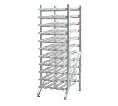 "New Age 1251 66"" Stationary Can Storage Rack w/ Adjustable Feet & Sloped Glides, Aluminum"
